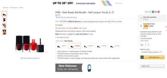 亚马逊发布自有品牌彩妆,正式进军彩妆界!